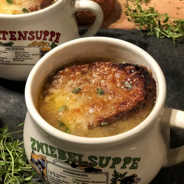 Vegetarian French Onion Soup Recipe - Sweet caramelized onions, melty Gruyere cheese, and crusty French bread