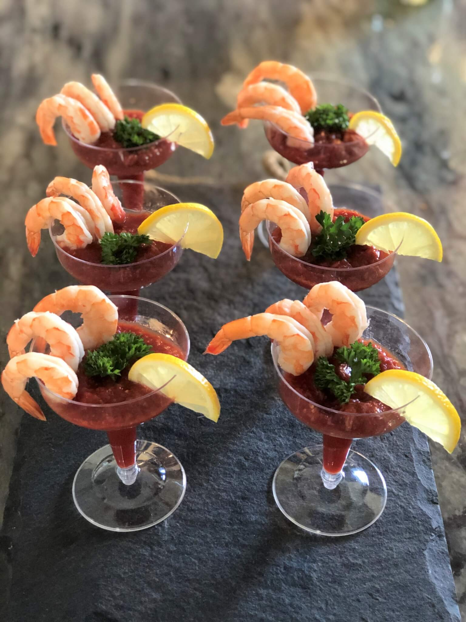 shrimp cocktail appetizer with homemade cocktail sauce-no refined sugar