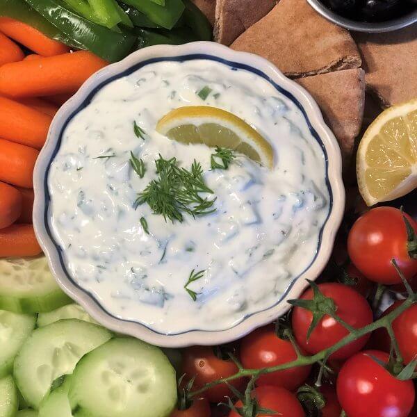 Authentic Greek Tzatziki Sauce with Homemade Pita Chips and Veggies