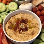 Homemade Roasted Red Pepper Hummus with Pine Nuts