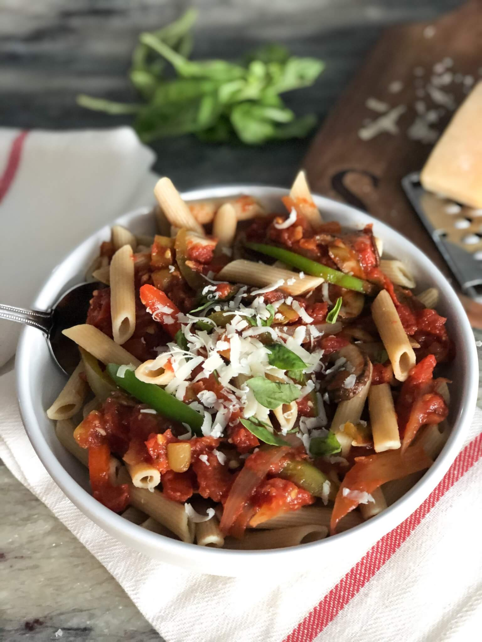 Veggie Pasta with Toasted Pine Nuts