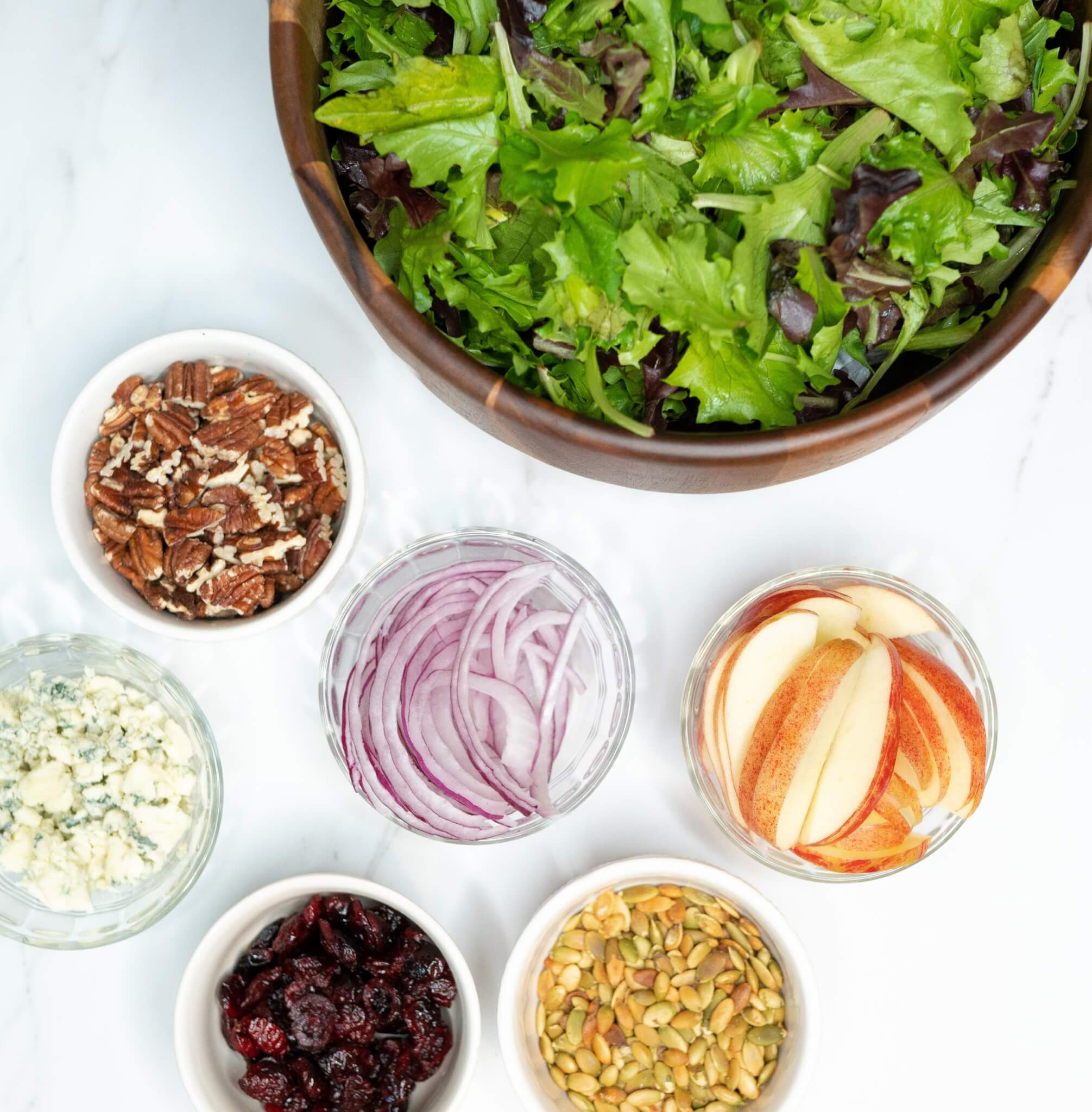 Fall Apple and Pecan Salad Ingredients