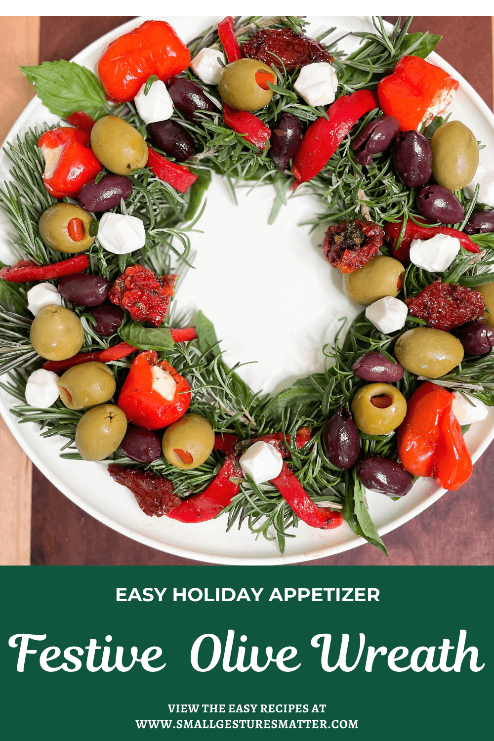 Olive wreath with fresh herbs - holiday appetizer