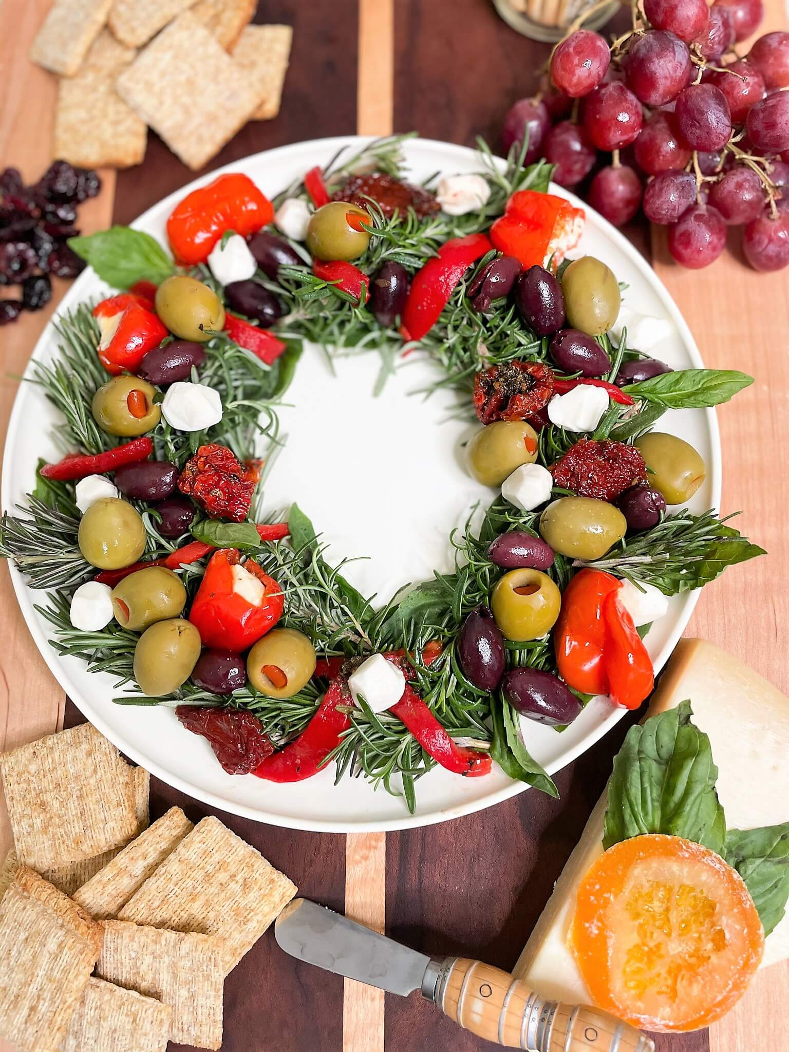 Olive Wreath Holiday Appetizer