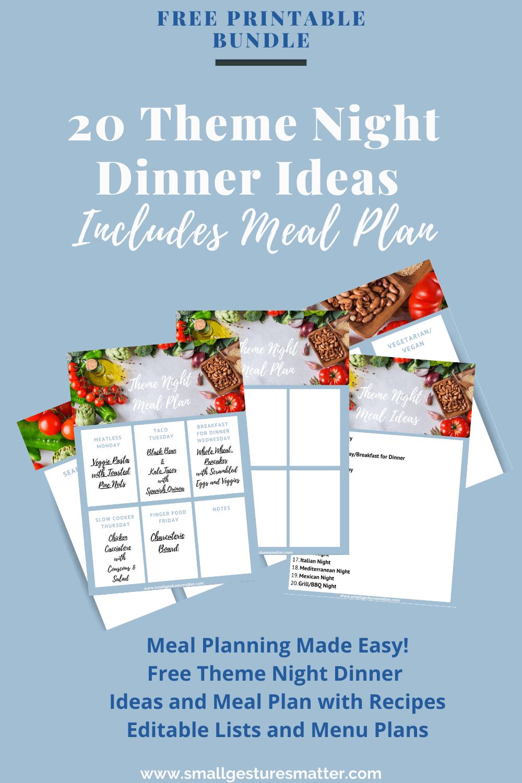 Theme Night Dinner Idea Templates