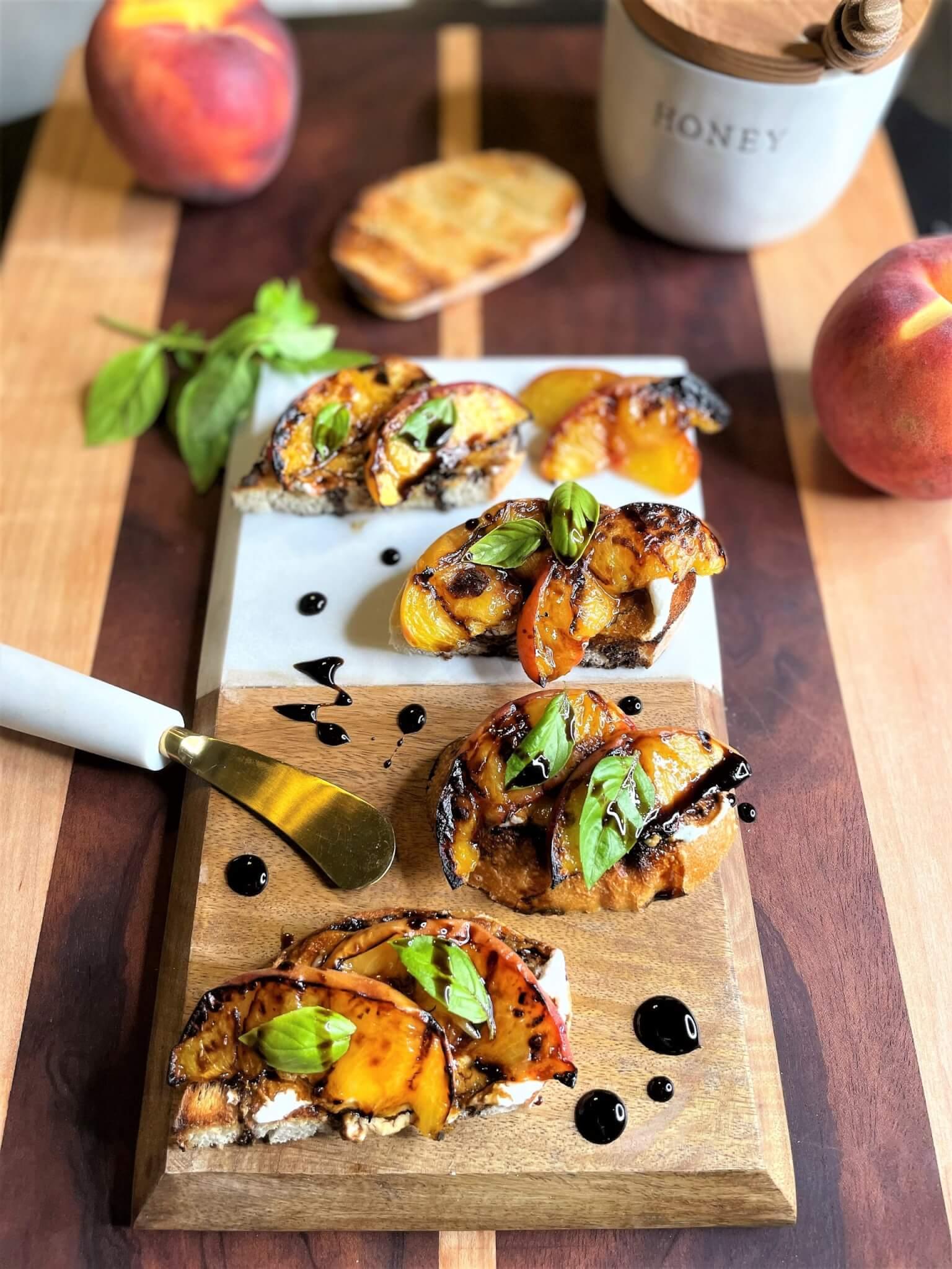 Grilled Peach Crostini with Balsamic Glaze